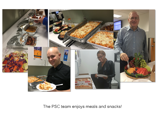 The PSC team enjoys meals and snacks during Customer Service Week