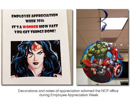 Decorations and notes of appreciation adorned the NCP office during Employee Appreciation Week
