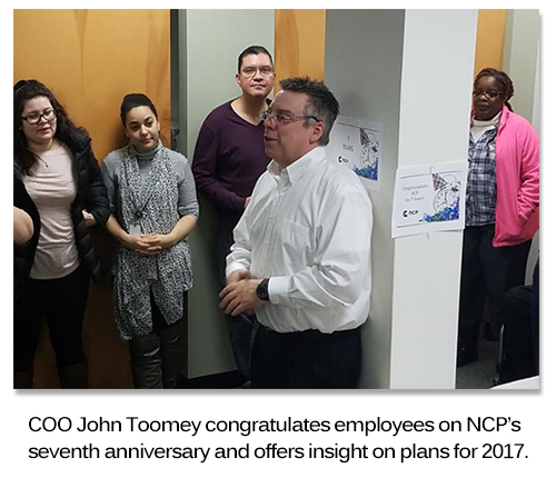 COO John Toomey speaks to the NCP Team during the anniversary celebration